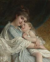 Giclee Print Mother and daughter Oil painting Printed on canvas 16X20 inch P140