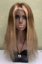 Lace Front 100% Natural Real Human Hair Wig Brown Highlights Ombré 18 inch 180%