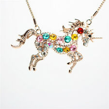 Girl Womens Colorful Crystal Steed Horse Unicorn Pendant Necklaces Sweater Chain