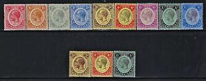 JAMAICA (BRITISH) 1912  Sct #61-69 #71-73  MLH  King George V  Near Complete Set