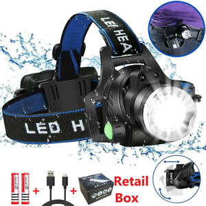 Zoom Headlamp 350000LM Rechargeable T6 LED Flashlights Headlight Head Torch Fish