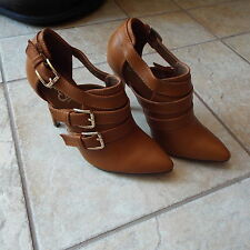 Women's Tan Buckle Leather Top Pump Booties Classic Comfort By Refresh size 6.5