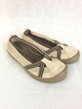 Terrasoles Size 7 Echo Crossband tan and brown mesh slip-on ballet flats Casual