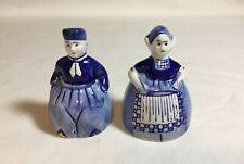 Vintage Delft Dutch Man Woman Salt and Pepper Shakers, Dbl Crown Mark