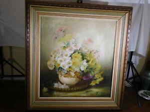S.E.Davis Listed New York c1890 Original Oil Floral Still Life w/Vase On Canvas