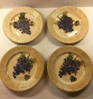 4 Tabletops Gallery Vintage Grape Dinner Plates PURPLE  Handpainted
