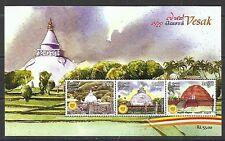 S/S Sri Lanka 2016 Vesak 2560 Souvenir Sheet, MNH Stamps buddha Ceylon 8 10 35