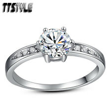 TTstyle RHODIUM 925 Sterling Silver Engagement Wedding Ring CZ Size 5-10 New