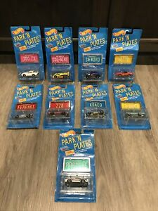 1988 vintage Hot Wheels Park N Plates Collection 9 Cars Lot Sealed Rippers!