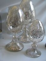 """3  Mercury Glass Finials  Large Egg  Shaped Graduated Sizes 12"""" Tallest  Easter"""