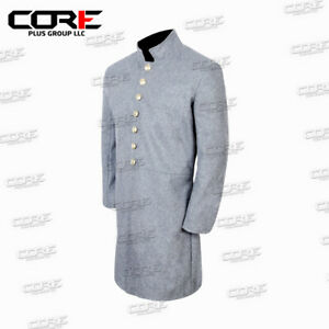 US Civil War CS Junior Officer's Single Breast Grey Wool Frock Coat- All sizes!