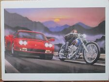 Vintage David Mann Motorcycle and Sports Car Poster E16