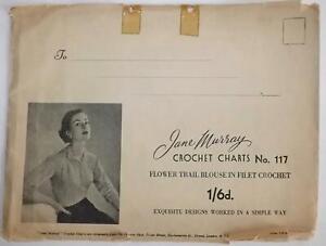 Vintage 1940s Jane Murray Crochet Chart Pattern No 117 FLOWER TRAIL BLOUSE 34-38