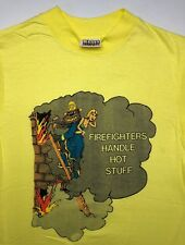 Vintage Mens S 70s Hanes Firefighters Handle Hot Stuff Neon Yellow NOS T-Shirt