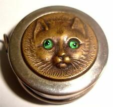 ANTIQUE TAPE MEASURE CAT HEAD RAISED GLASS EYES c 1910    11