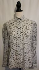 VINTAGE 80s ~ KATIES White Long Sleeve Blouse w Small Black Floral Print 14 16