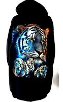 "TIGER WILD""streak""HOODIE HOODS ""GLOW IN THE DARK "" GRAPHIC SWEAT BLACK FRONT ZIP"