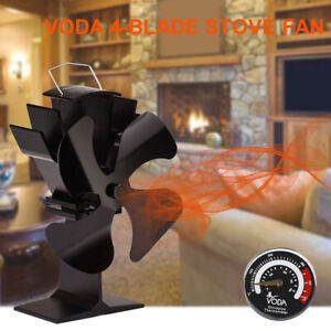 4 Blades Heat Powered Stove Fan With Thermometer Home Silent Wood Fireplace Fan