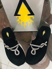 Volatile Black Gator Wedge Sandals Embellished With Rhinestone T-straps. Size 6