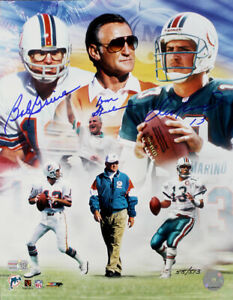 BOB GRIESE, DON SHULA & DAN MARINO SIGNED MIAMI DOLPHINS 11X14 PHOTO LE TRISTAR