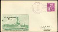 8/25/1947, USS REINA MERCEDES Ship Canceled Cover, USS NORTHAMPTON MEM. Cachet!