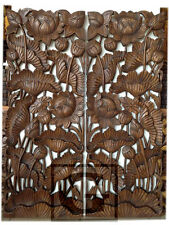 1 Pair Lotus Flower Leaf Carving Home Wall Panel Mural Decor Art Statue FS gtahy