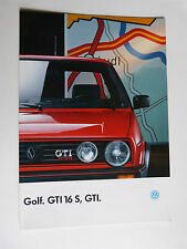 prospectus catalogue : VW  volkswagen GOLF GTI 16S  de janvier 1988