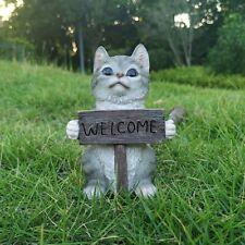 Cat Welcome Sign Garden Statue Figurine - Best Art Décor for Indoor Outdoor