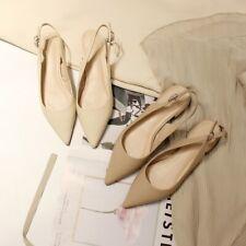 Womens Trendy Pointy Toe Slingbacks Block Low Heels Sandals OL Ladies Work C941