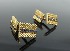 Vintage Van Cleef & Arpels VCA NY 1.50ct Sapphire & 18K Yellow Gold Cufflinks