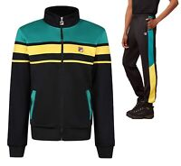 FILA Retro Track Jacket or Bottoms Casual Block Gordon Black Green Tracksuit