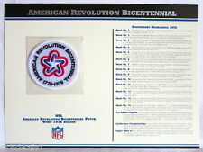 BICENTENNIAL AMERICAN REVOLUTION ANNIVERSARY NFL PATCH Willabee & Ward WORN 1976