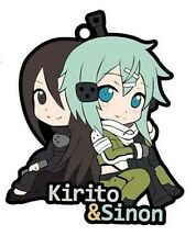 Sword Art Online Kirito and Sinon GGO Rubber Phone Strap Anime Manga NEW