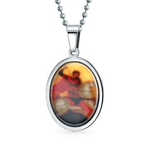 Saint George Of England Medal Medallion Oval Necklace Stainless Steel