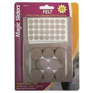 Magic Sliders #63979 Beige Self Adhesive Felt Pads Assorted Sizes 102 piece