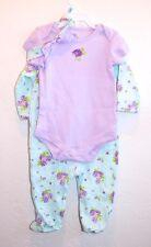 New BABY Starters  3 piece set Baby Girl 6M LS Bodysuit, SS Bodysuit, Headband