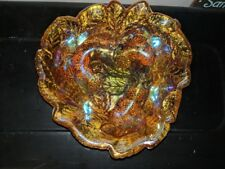 Vintage Carnival Glass Candy Dish Bowl by Indiana Marigold Iridescent