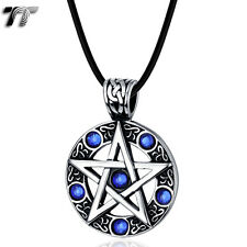 Quality TTstyle 316L Stainless Steel Pentacle Pentagram Pendant Blue CZ (NP290)