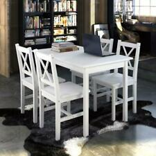 5 Piece Solid Wooden Dining Dinner Breakfast Table and Seat Chairs Set - White