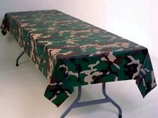 """12 CAMOUFLAGE 108""""X54"""" PLASTIC TABLECLOTHS ~ CAMO TABLE COVERS ~ MILITARY"""