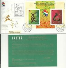 Hong Kong FDC 2001 Dragon/Snake Gold Stamp Sheetlet with Certificate