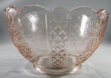 "Vintage Pink Glass Upturned Gas Oil Kerosene Lamp Shade 4"" Fitter Floral Lattice"