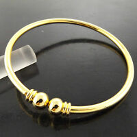 BANGLE CUFF BRACELET GENUINE REAL 18K YELLOW G/F GOLD SOLID BEAD BALL DESIGN