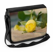 Yellow Rose On Table Laptop Messenger Bag - Roses Flowers Floral