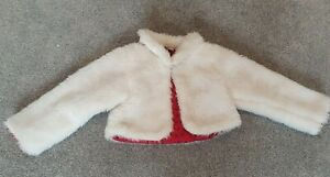 Girls Pumpkin Patch Faux Fur Cream Cropped Jacket 3 Years