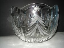 MIKASA LARGE CRYSTAL CUT AND ETCHED BOWL, FRUIT OR CENTERPIECE PINE TREE DESIGN