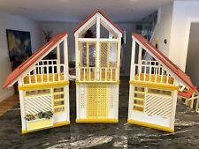 Vintage 1978 Barbie Dream House A Frame Yellow Red Mattel Doll Pink 70s 3 Piece