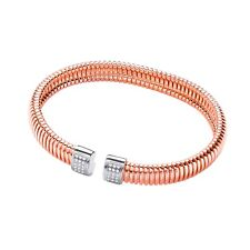 J JAZ Summer Rose Gold Plated Silver 925 Torque Mesh Cubic Zirconia Bangle