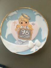 Precious Moments - Peace On Earth Anyway - 1996 Plate 4� Round Blue Angel