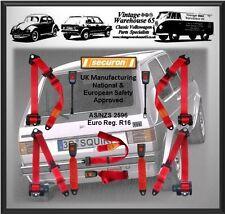 VOLKSWAGEN Golf Mk1 & Gti Juego Completo delanteras y traseras rojos automática Kit De Cinturón De Seguridad